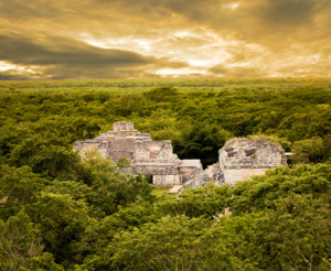 Top view of Ek Balam ruins. Yucatan, Mexico